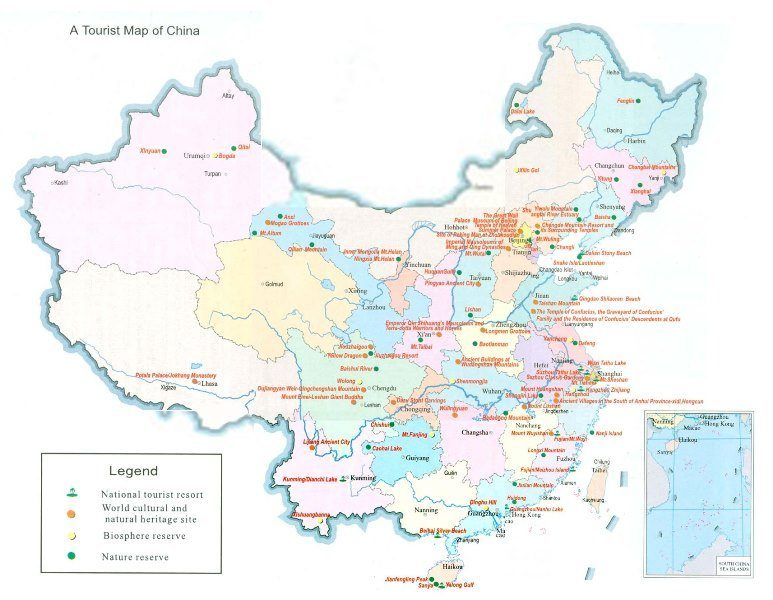 Tours to China - Map of Chinese tourist destinations
