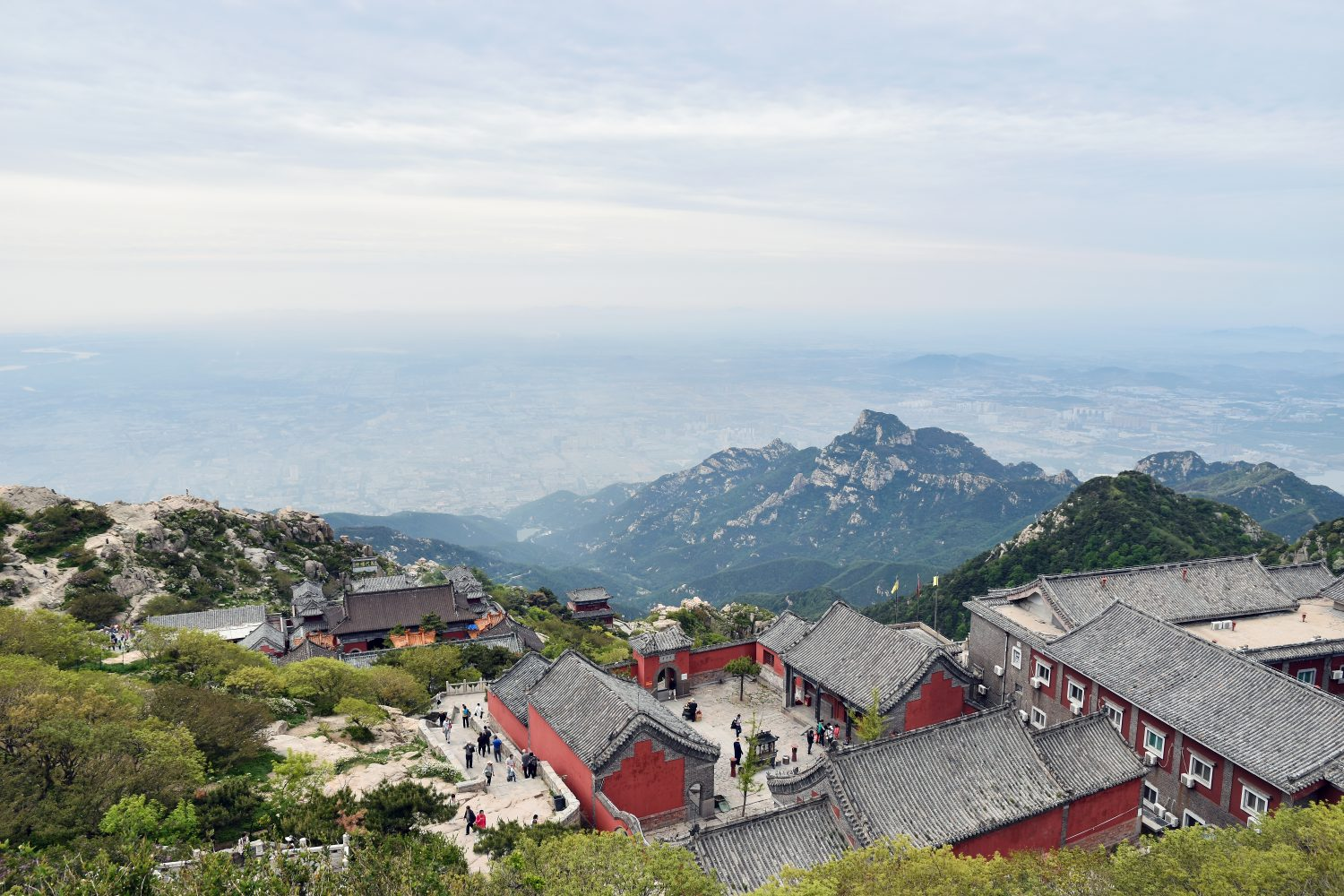 City scenery and red Buddhist temple overlooking from Taishan China