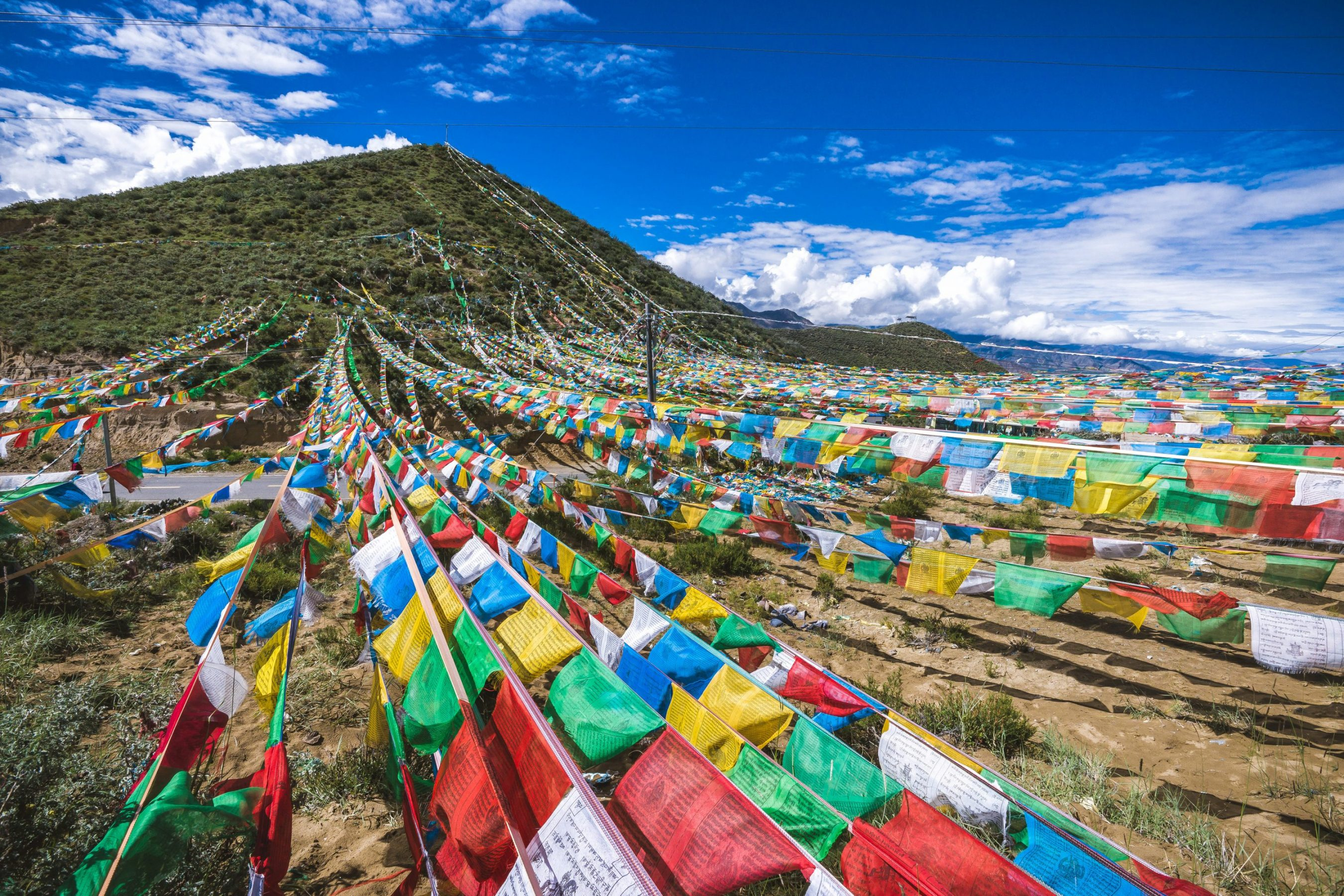 BUddhist prayer flags - China travel packages