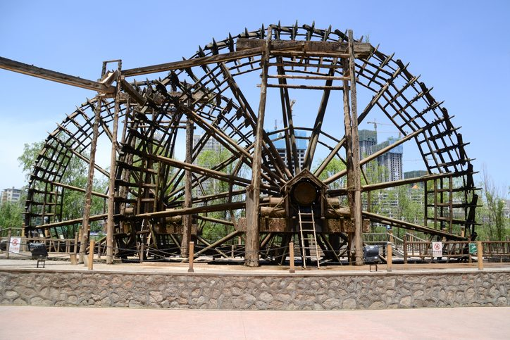 Giant waterwheels on the banks of Yellow River Lanzhou, China