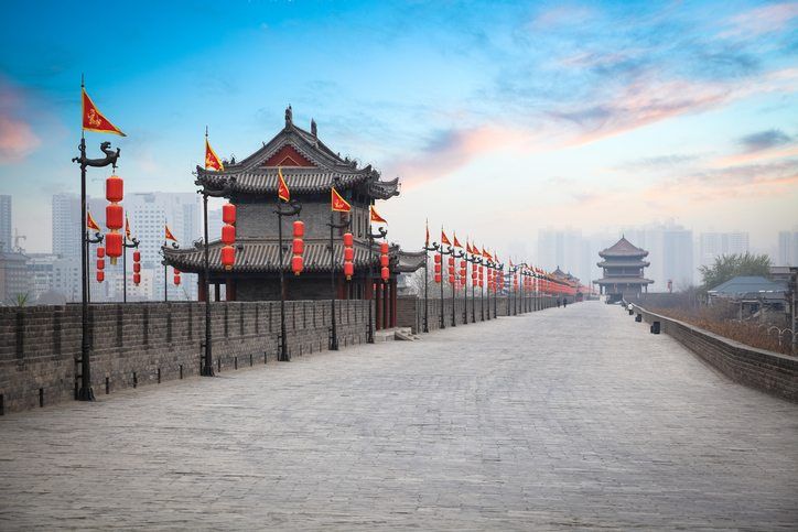 Ancient tower at dusk in Xi'an - China travel