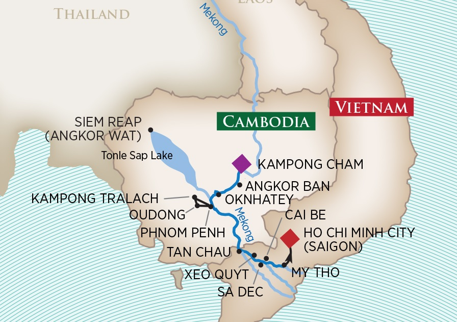 Map of Southeast Asia - Vietnam Cruise