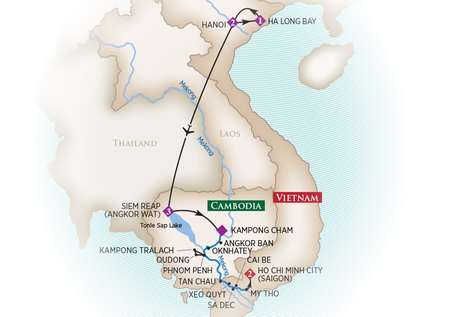 Map of Cambodia and Vietnam - River Cruises Asia